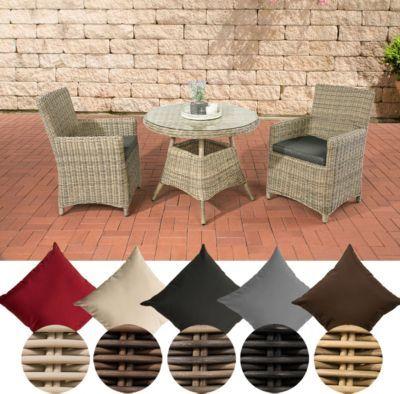 Poly Rattan Sitzgruppe QUITO, 5 Mm Rund Geflecht, Alu Gestell (2 Sessel,  Tisch Rund Ø 90 Cm) Ideal Für Balkon Und Terrasse Jetzt Bestellen Unter: ...