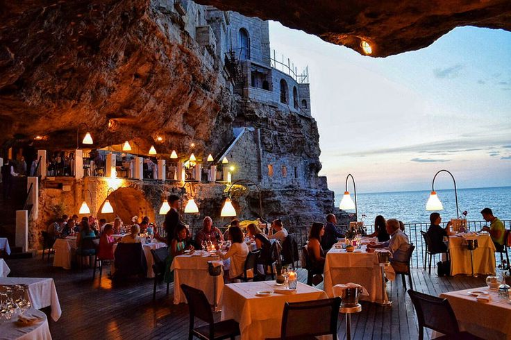 Grotta Palazzese in Puglia, Italy | These Restaurants Will Take Your Breath Away via Tasting Table