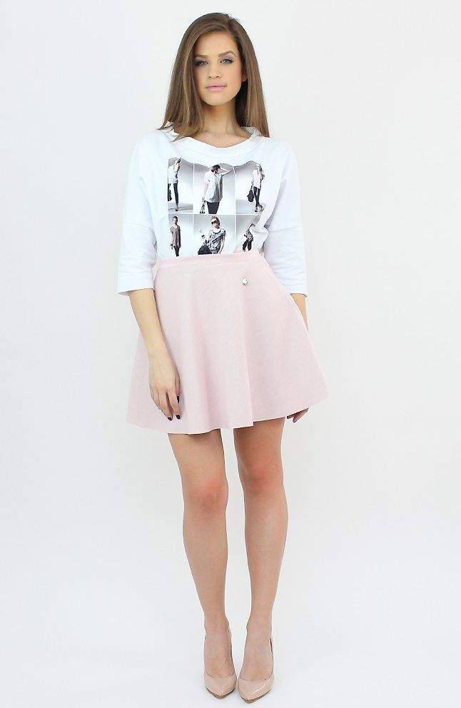 Casual Pink Flared Skirt for a chic outing in the city...:)  #skirt #casual #shopping #style #fashion
