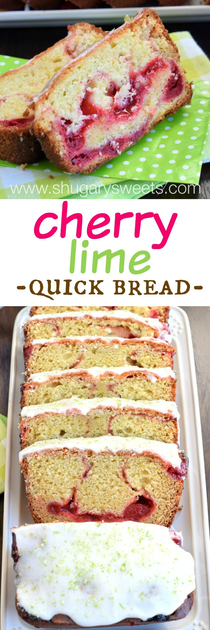 Cherry Lime Bread is an easy quick bread that makes TWO loaves. One for now, one for later (freeze or share with a friend)!