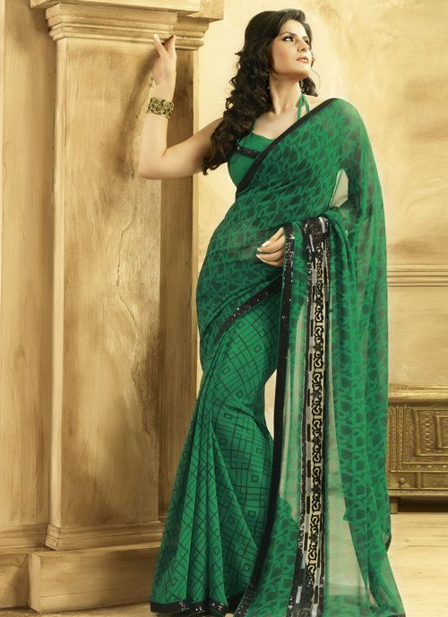 Zarine Khan Dark Green Georgette Saree