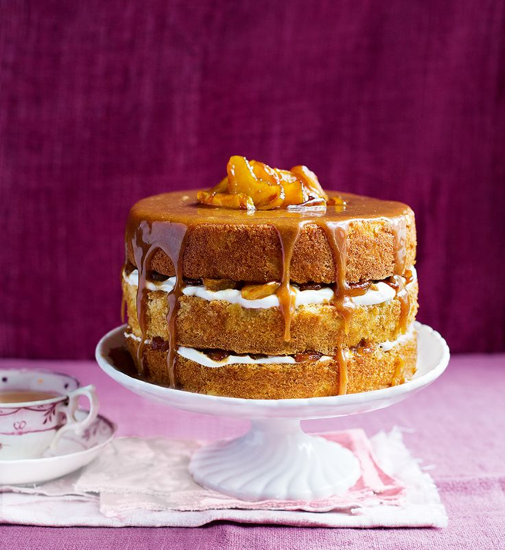 Apple & Caramel Layer Cake ~ apple sponge with Greek yogurt & sticky apple filling, topped by a sweet cream caramel sauce | recipe from Delicious Magazine (UK)