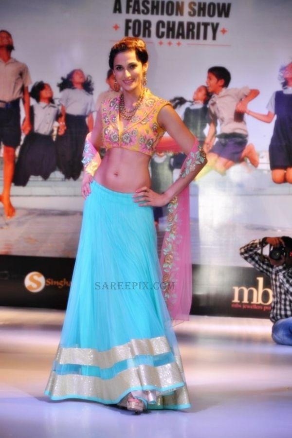 Shilpa Reddy in striking self designed Neon Lehenga Choli at Passionate Foundation Charity Fashion Show 2013 https://www.facebook.com/shilpareddystudio