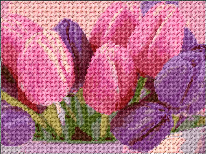 tulips free cross stitch pattern by Ann Logan