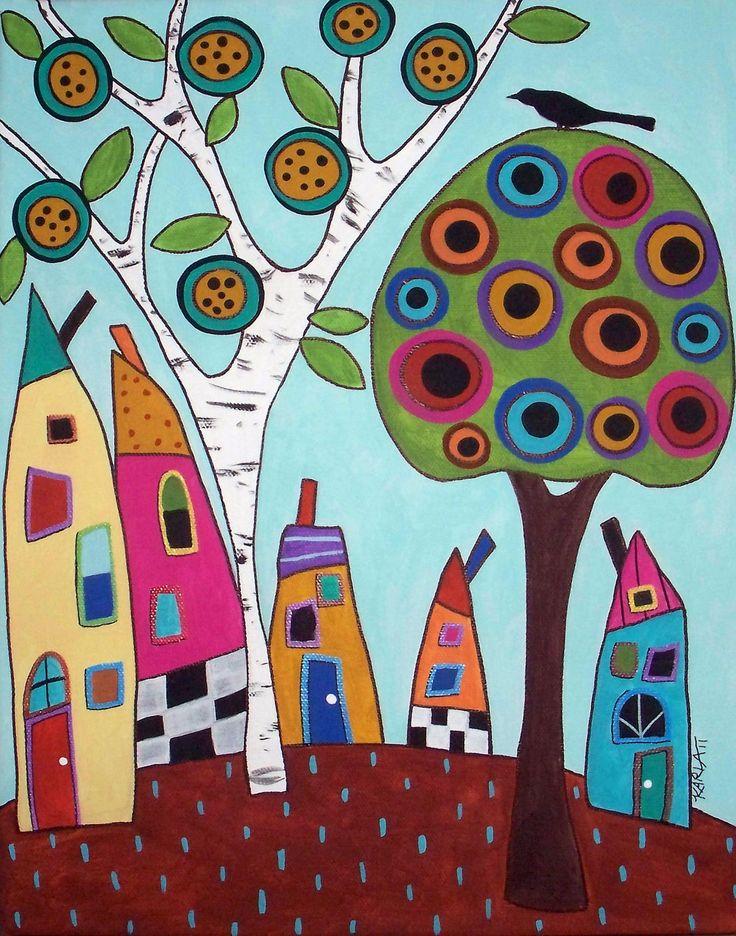 Happy+Houses+Folk+Art+Spring+Trees+Karla+by+KarlaGerardFolkArt,+$5.99 like this artista folk whimsy style houses, birds and flowers it really cheers up the day and her use of colour and pattern in her collage style painting is very good