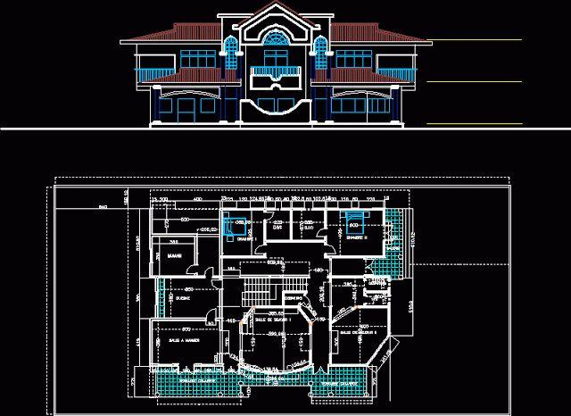 Conception d 39 une villa en dwg search and villas Plan de maison avec autocad