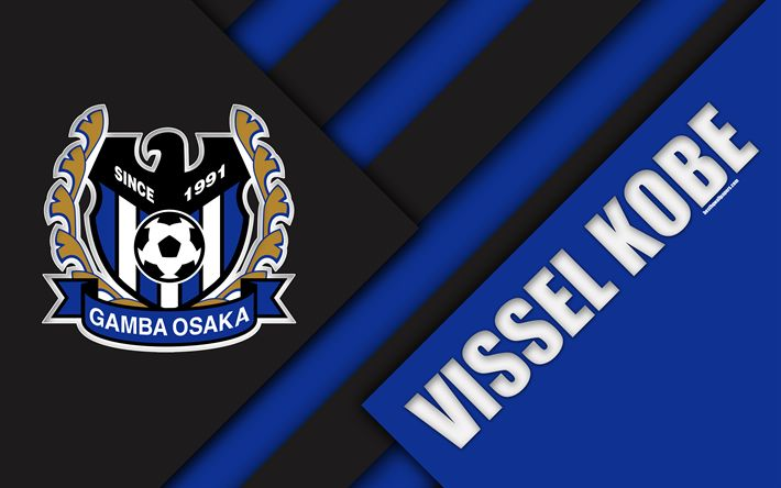 Download wallpapers Gamba Osaka FC, 4k, material design, Japanese football club, blue black abstraction, logo, Suita, Osaka, Japan, J1 League, Japan Professional Football League, J-League