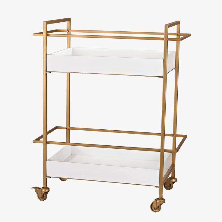 This transitional bar cart will be the star of happy hour with its gloss white shelves and sleek gold finish. Move the bar cart closer to the party.