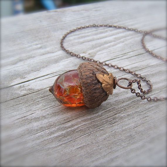 $24.00 Mini Glass Acorn Necklace - Autumn Tones with Vintage Metal Leaf