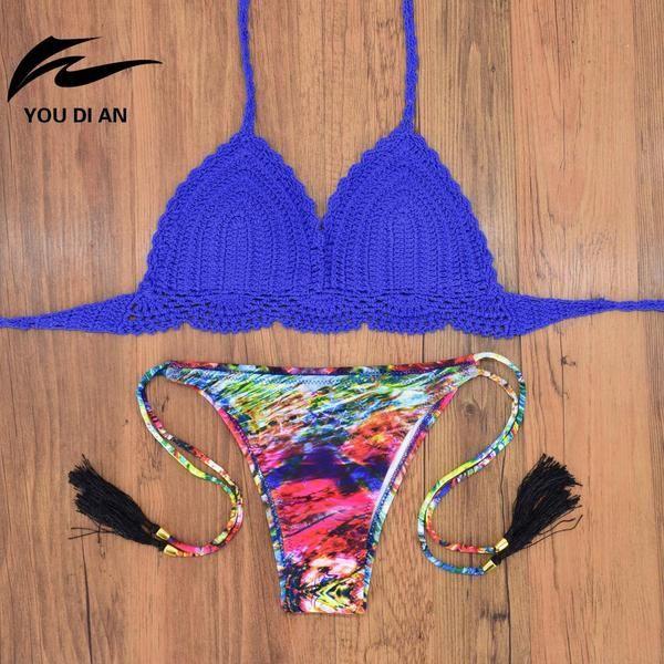 Handmade Crochet Bikini Women Swimwear Retro Knitting Swimming 2017 New Sexy Beach Biquinis Feminino Praia Bathing Suit Sales