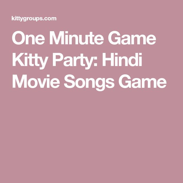 One Minute Game Kitty Party: Hindi Movie Songs Game