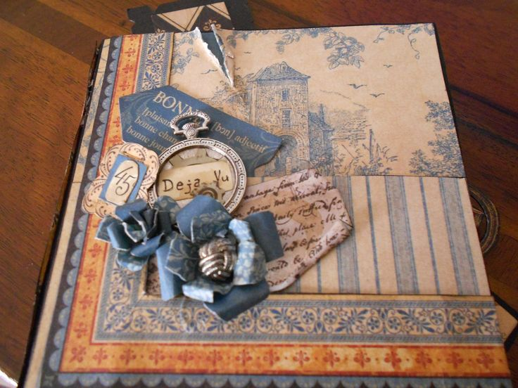 """hand made by Paola Botero mini album """"Daje vu """" paper collection french country Graphic 45"""