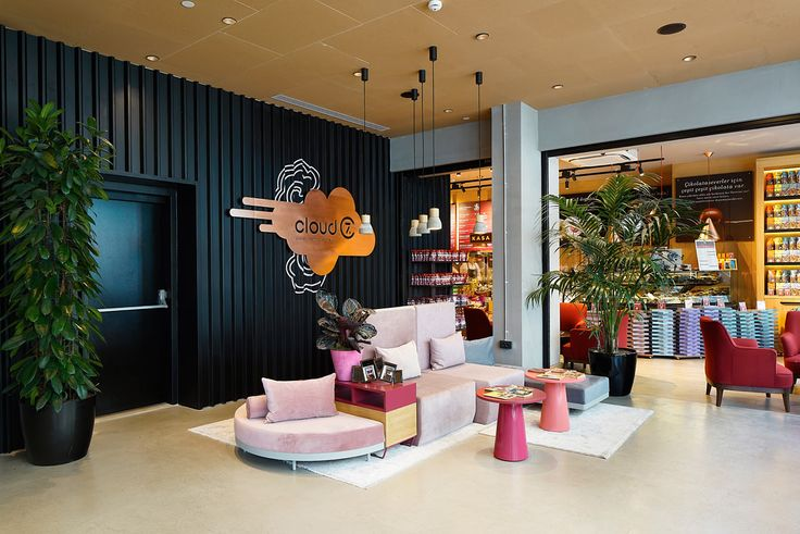 Lobby of the Cloud 7 Hotel in Istanbul, a Hotel for tech-savvy travelers. Via www.designmilk.com