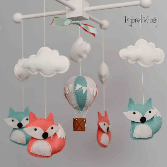 Fox Mobile  Hot Air Balloon Mobile  Custom by TayloredWhimsy
