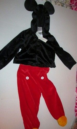 He can be everybody's favorite mouse Mickey this Halloween.  This Mickey Mouse Toddler Costume was a Disney Store exclusive.  Features a Mickey Mouse hoodie with ears. Snaps up the front.  Red Mickey Mouse pants with yellow feet.  100% polyester  Size 18 months  New with tags