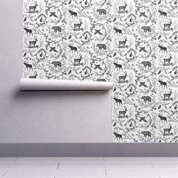 Winter Toile Black And White Designed By Nouveau Bohemian Available Custom Printed Onto Your Ch Woodland Wallpaper Toile Wallpaper Black And White Wallpaper