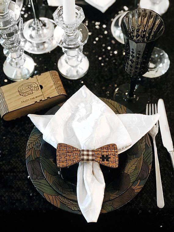 Wood Anniversary Gift for Boyfriend Husband Wooden Bow Tie
