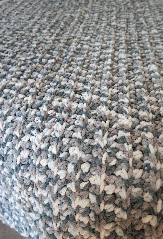 White And Gray Chenille Throw Blanket Handmade Crocheted Bernat Weathered Wood Rustic Farmhouse Throw Blanket Bed Runner In 2020 Weathered Wood Bed Runner Blanket Yarn