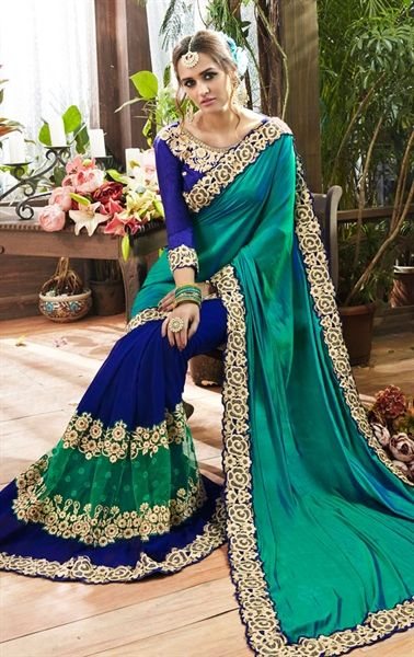 Picture of Iconic Green and Blue Party Wear Saree