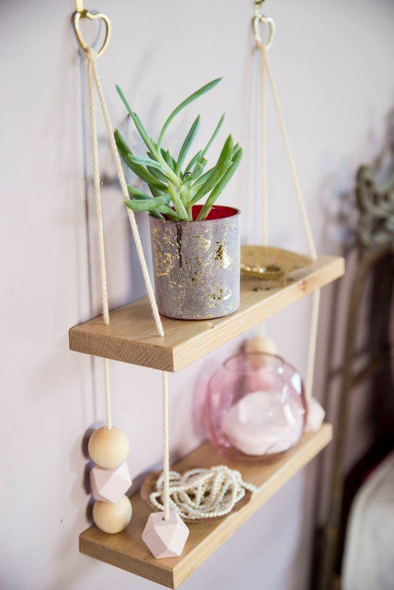 Hanging shelf with wooden beads, wall shelf, minimal shelf, display shelf, light wood, swing shelves, wall shelves, wooden shelves