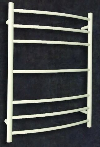 Curved/Round Heated towel rail. Powder coated white rail with dry element.  7 Bars Output W 78. Order one now at $449.00. FREE Shipping Australia.