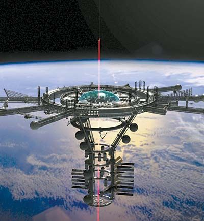 I believe there would be several space elevators as well as other space launch systems during the period of SOR. At least one of the elevators would be attached to a large asteroid upon which would be a major city.