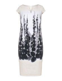 KS Selection Robe en mix de coton à imprimé intégral in beige / noir