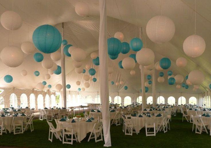 White paper lanterns with blue accents.  Witte lampionnen met blauwe accenten.  Wedding decoration Trouwen #lampion Bruiloft Tent feesttent Engaged  Festival Design  Inrichting  www.lampion-lampionnen.nl