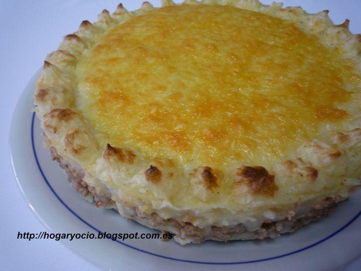 Pastel salado de patata y carne
