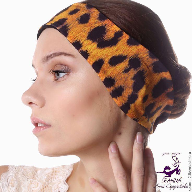 """Купить Полоска, повязка на голову утепленная на флисе """"Яркий Ягуар"""" - повязка, полоска, полоска на голову"""