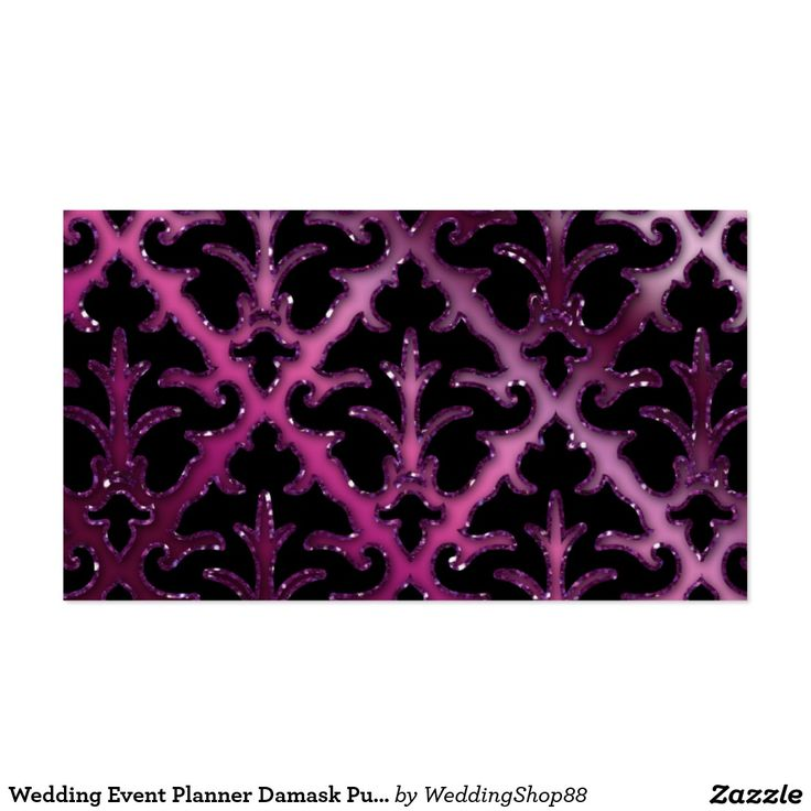business event invitation templates%0A Wedding Event Planner Damask Purple Sparkle Silver Business Card