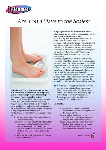 My article 'Are you a slave to the scales' in mummiez and daddiez magazine
