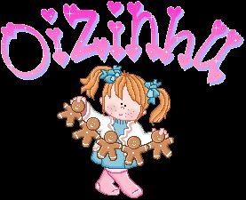 Gif desenho de boneca pequena com texto de oi e estrelinhas piscando