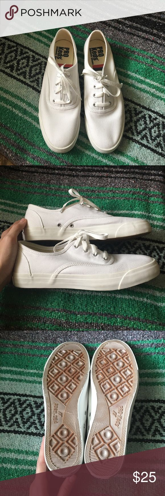 NWOT White Keds Awesome, never worn white Pro Keds! They've been sitting in my closet. Flats just make my short legs look like thumbs, haha. They are super cute and I hope someone has a good home for them! Keds Shoes