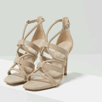 Zara Beige Strappy High Heel Sandal. Beautiful neutral color!
