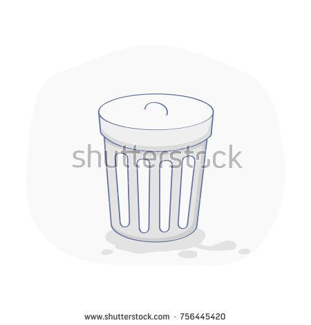 Recycle Bin, Trash Basket and Garbage container concept. Reuse, removal or reduce symbol. Flat outline vector concept, icon on white background.