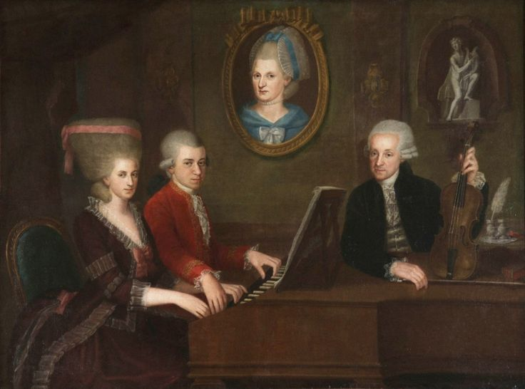 Johann Nepomuk della Croce (Austrian, 1736–1819) Wolfgang Amadeus Mozart with his sister Maria Anna und father Leopold, on the wall a portrait of his late mother Anna Maria. 1780-1781 гг. Salzburg