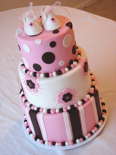 Skys cake? Replace booties with pearls and flowers and yellow and grey instead of black and white