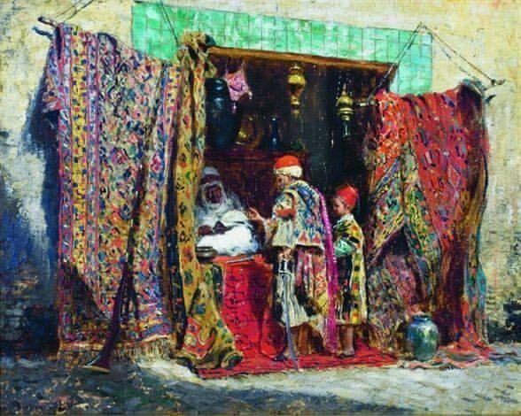 متجر الزرابي Un magasin de tapis Addison Thomas Millar ,Peintre Américain (1860_1913) #algerie #algeria #peinturedalgerie #art #art🎨#artwork #artofinstagram #paint #painting #oilpainting #الجزائر #الجزائر_المحمية_بالله #تاريخ_الجزائر #التراث_الجزائري #اللباس_التقليدي_الجزائري #لوحات_فنية #لوحات_فنية_جزائري