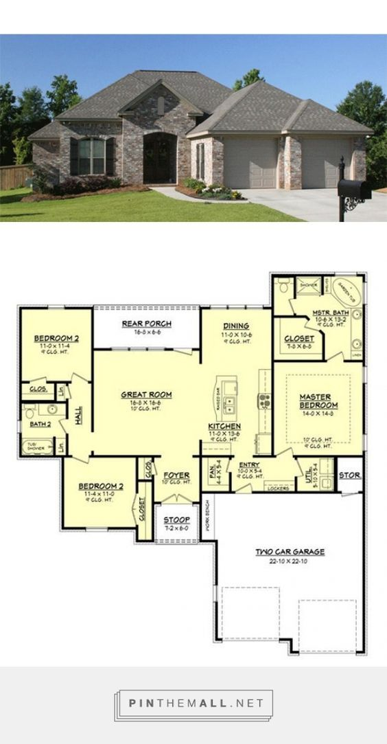 european plan 1 600 square feet 3 bedrooms 2 bathrooms 041 rh pinterest com 3 bedroom house plans on a slab