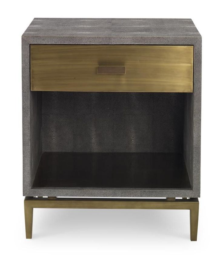 """Odette Bedside - Mr. Brown Manufacturer -  Finishes: Espresso Faux Shagreen or Storm Faux Shagreen with Cardinal Faux Suede Interior - Shown in: Storm Faux Shagreen - Dimensions: W24 x D18 x H28.5, Floor to Base: 5"""" Shelf: W21.75 x D17.5 x H13.5, Drawer Front: W21.5 x H6.25, Drawer Int.: W20 x D13.25 x H3.75"""