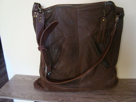 brown recycled leather bag///vintage leather belt by BagsBand