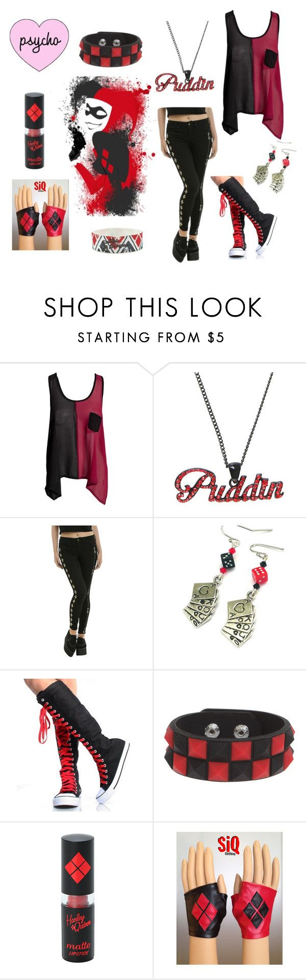 """""""Harley Quinn #8"""" by nightwing02 on Polyvore featuring Club L, Mad Love, batman, Dccomics, harleyquinn and SuicideSquad - COSPLAY IS BAEEE!!! Tap the pin now to grab yourself some BAE Cosplay leggings and shirts! From super hero fitness leggings, super hero fitness shirts, and so much more that wil make you say YASSS!!!"""