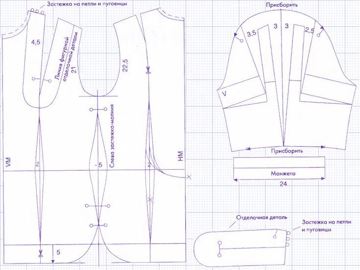 Выкройка платьяотрезного со средним швом на полочке 42-52