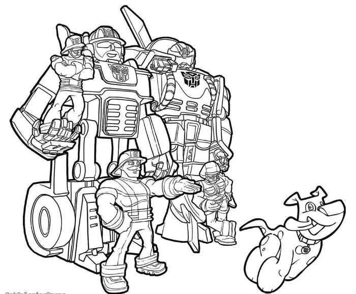 Transformers Rescue Bots Chase And Heatwave Coloring Page Di 2020