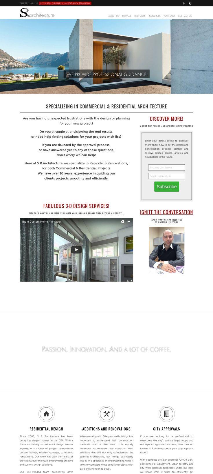 WordPress site srarchitecture.ca uses the Architect Marketing Group Template 1 best wordpress theme