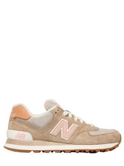 NEW BALANCE 574 SUEDE & NYLON CANVAS SNEAKERS BEIGEPINK $ 119.00