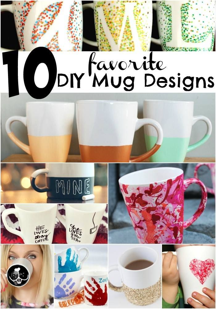 10 Adorably Cute DIY Mug Ideas - I think the white letter over the design mug could be an inspiration for a quilt