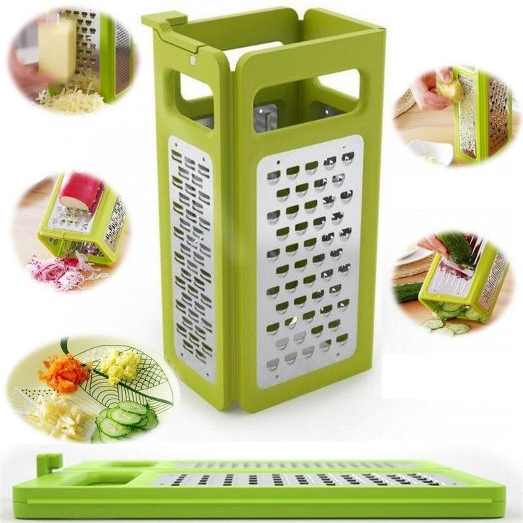Kitchen Gadgets 4 In 1 Folding Box Grater Device Shredded Cheese Slicer Flat Coarse Fine Ribbon Etched Blades Cooking tools
