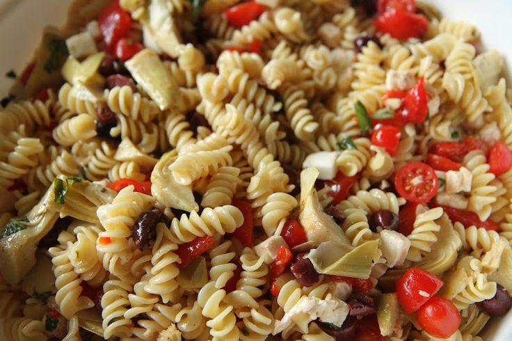 Pasta Salad with Roasted Bell Pepper, Mozzarella, Artichoke Hearts, Kalamata Olives, and Basil